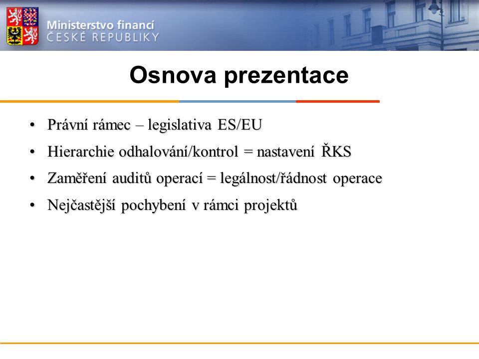 Osnova prezentace Právní rámec – legislativa ES/EUPrávní rámec – legislativa ES/EU Hierarchie odhalování/kontrol = nastavení ŘKSHierarchie odhalování/kontrol = nastavení ŘKS Zaměření auditů operací = legálnost/řádnost operaceZaměření auditů operací = legálnost/řádnost operace Nejčastější pochybení v rámci projektůNejčastější pochybení v rámci projektů