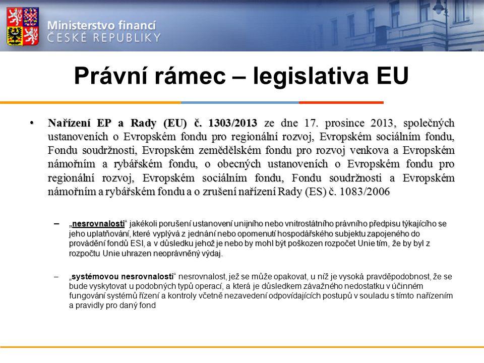 Právní rámec – legislativa EU Nařízení EP a Rady (EU) č. 1303/2013 ze dne 17. prosince 2013, společných ustanoveních o Evropském fondu pro regionální