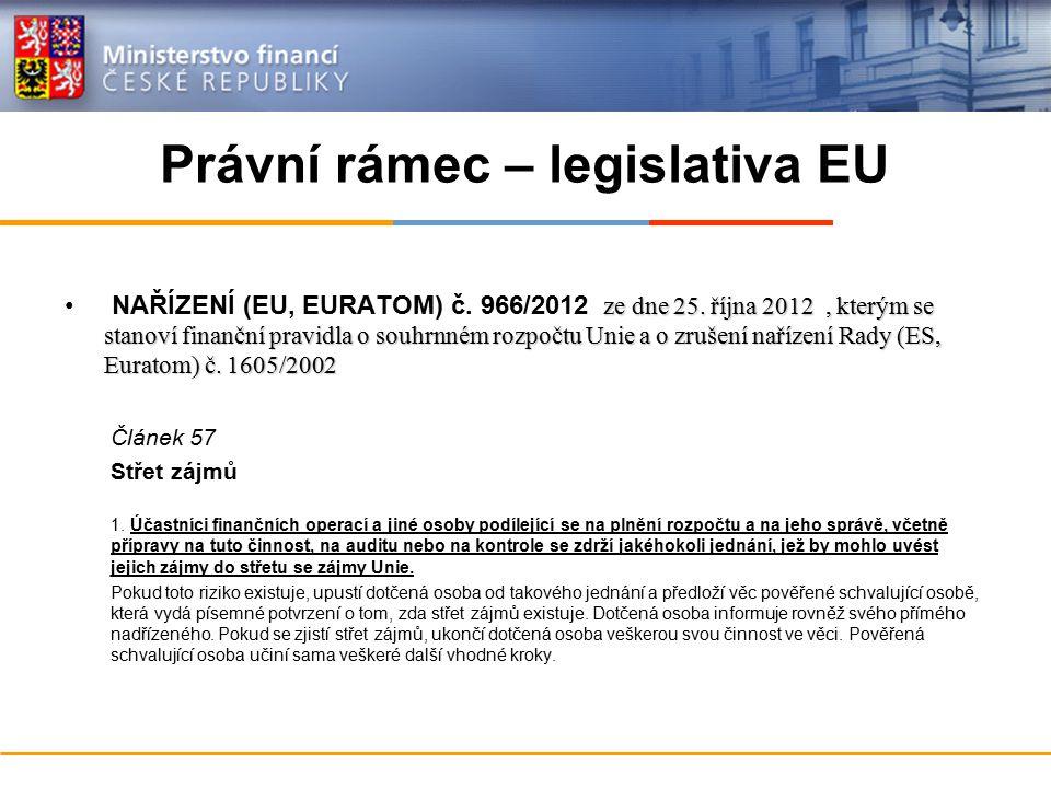 Právní rámec – legislativa EU ze dne 25. října 2012, kterým se stanoví finanční pravidla o souhrnném rozpočtu Unie a o zrušení nařízení Rady (ES, Eura