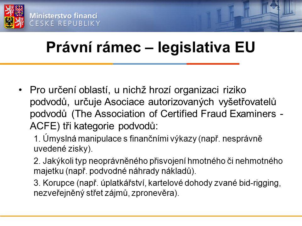 Právní rámec – legislativa EU Pro určení oblastí, u nichž hrozí organizaci riziko podvodů, určuje Asociace autorizovaných vyšetřovatelů podvodů (The Association of Certified Fraud Examiners - ACFE) tři kategorie podvodů: 1.