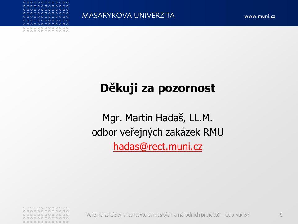Děkuji za pozornost Mgr. Martin Hadaš, LL.M.