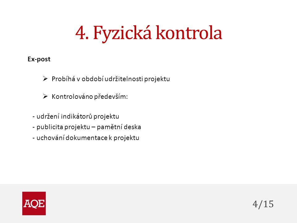 4. Fyzická kontrola Ex-post  Probíhá v období udržitelnosti projektu  Kontrolováno především: - udržení indikátorů projektu - publicita projektu – p