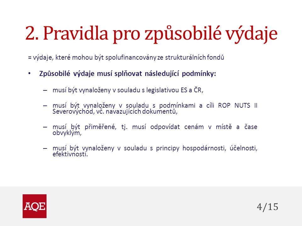 2. Pravidla pro způsobilé výdaje = výdaje, které mohou být spolufinancovány ze strukturálních fondů Způsobilé výdaje musí splňovat následující podmínk