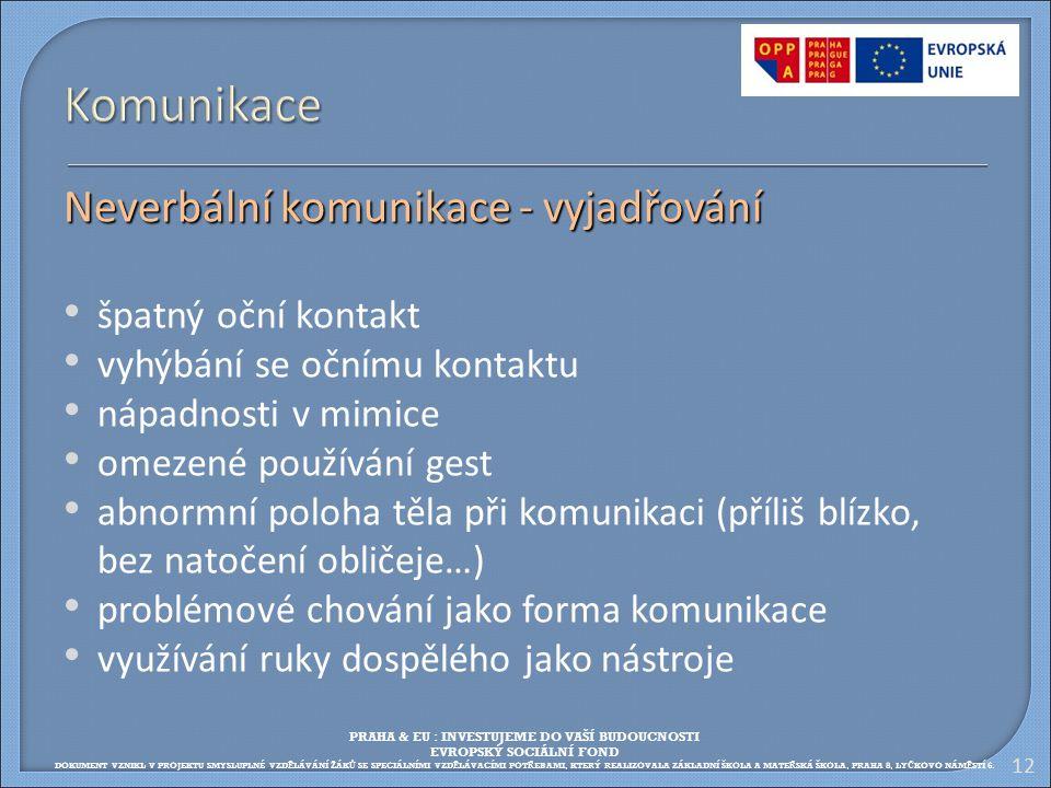 12 Komunikace Neverbální komunikace - vyjadřování špatný oční kontakt vyhýbání se očnímu kontaktu nápadnosti v mimice omezené používání gest abnormní