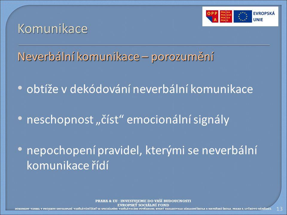 """13 Komunikace Neverbální komunikace – porozumění obtíže v dekódování neverbální komunikace neschopnost """"číst"""" emocionální signály nepochopení pravidel"""
