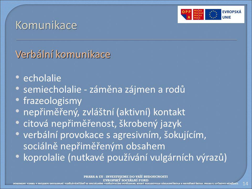 14 Komunikace Verbální komunikace echolalie semiecholalie - záměna zájmen a rodů frazeologismy nepřiměřený, zvláštní (aktivní) kontakt citová nepřiměř