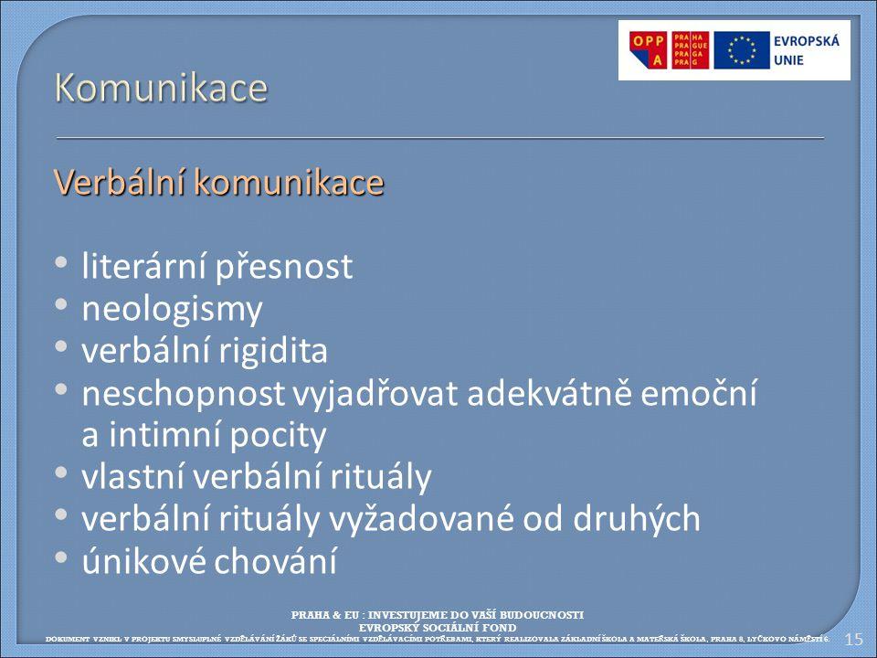 15 Komunikace Verbální komunikace literární přesnost neologismy verbální rigidita neschopnost vyjadřovat adekvátně emoční a intimní pocity vlastní ver