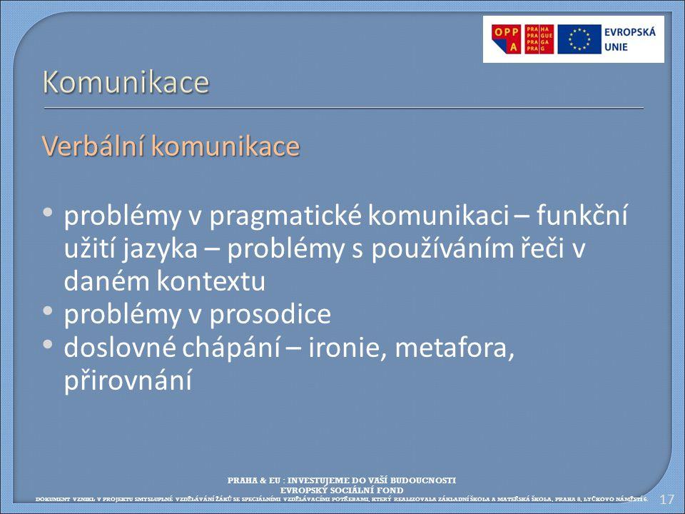Verbální komunikace problémy v pragmatické komunikaci – funkční užití jazyka – problémy s používáním řeči v daném kontextu problémy v prosodice doslov