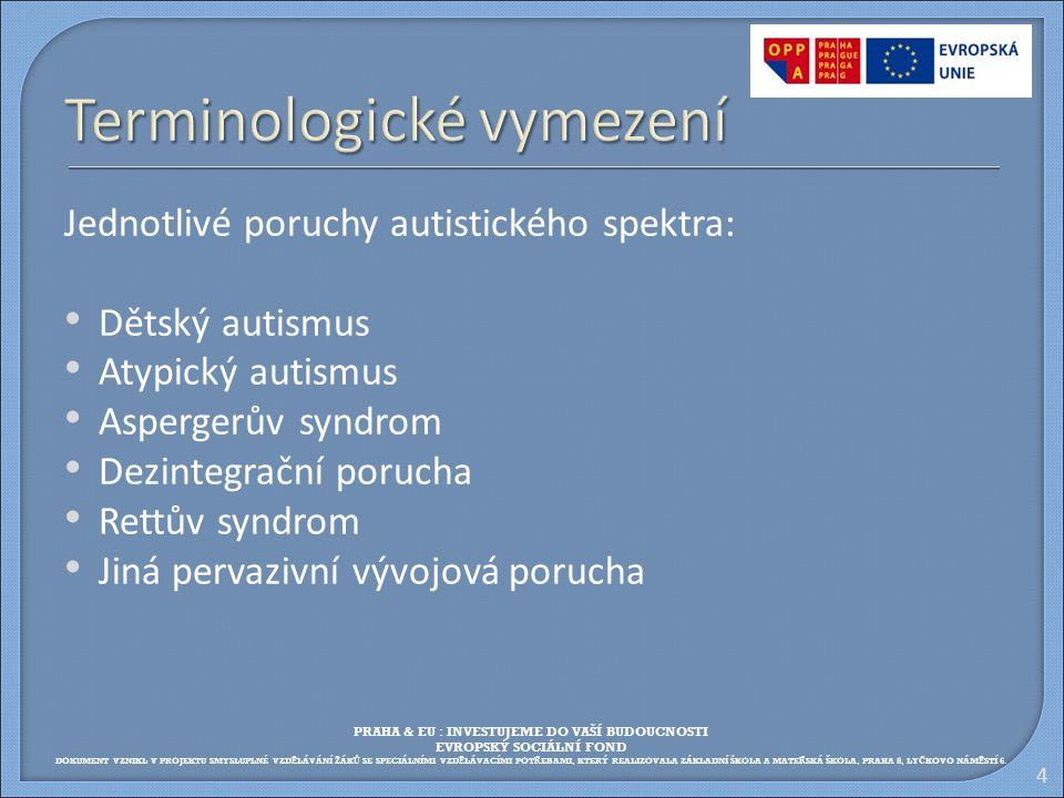 4 Terminologické vymezení Jednotlivé poruchy autistického spektra: Dětský autismus Atypický autismus Aspergerův syndrom Dezintegrační porucha Rettův s