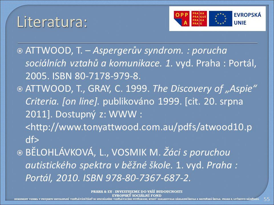 55 Literatura:  ATTWOOD, T. – Aspergerův syndrom. : porucha sociálních vztahů a komunikace. 1. vyd. Praha : Portál, 2005. ISBN 80-7178-979-8.  ATTWO
