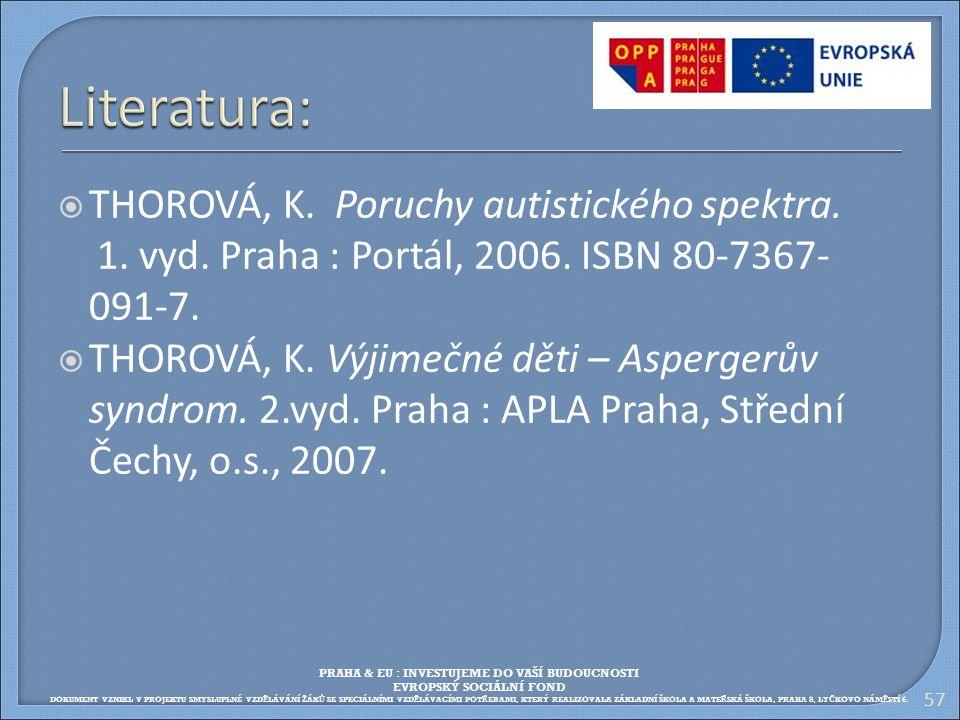  THOROVÁ, K. Poruchy autistického spektra. 1. vyd. Praha : Portál, 2006. ISBN 80-7367- 091-7.  THOROVÁ, K. Výjimečné děti – Aspergerův syndrom. 2.vy
