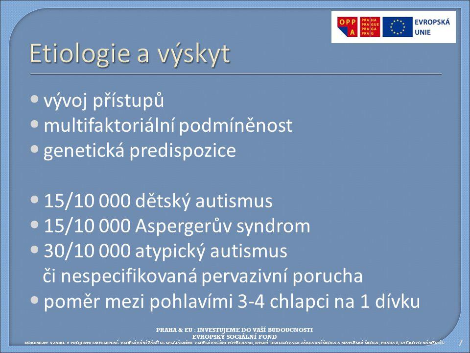 7 Etiologie a výskyt vývoj přístupů multifaktoriální podmíněnost genetická predispozice 15/10 000 dětský autismus 15/10 000 Aspergerův syndrom 30/10 0