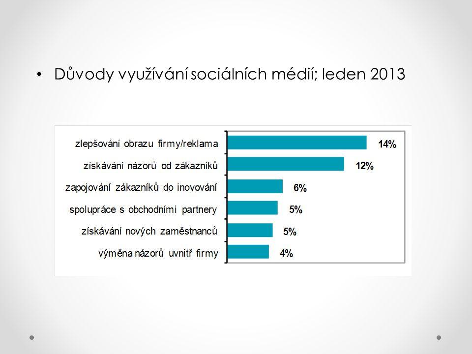 Důvody využívání sociálních médií; leden 2013