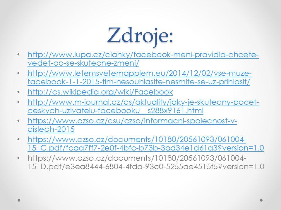 Zdroje: http://www.lupa.cz/clanky/facebook-meni-pravidla-chcete- vedet-co-se-skutecne-zmeni/ http://www.lupa.cz/clanky/facebook-meni-pravidla-chcete-
