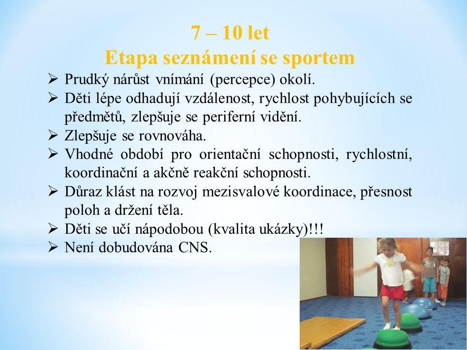 7 – 10 let Etapa seznámení se sportem  Prudký nárůst vnímání (percepce) okolí.