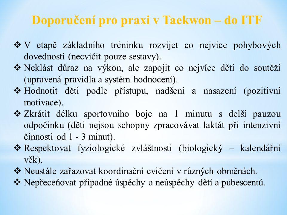 Doporučení pro praxi v Taekwon – do ITF  V etapě základního tréninku rozvíjet co nejvíce pohybových dovedností (necvičit pouze sestavy).  Neklást dů