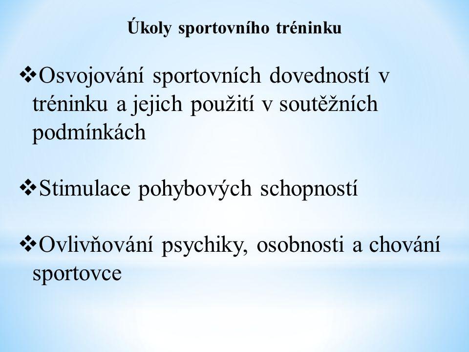 Úkoly sportovního tréninku  Osvojování sportovních dovedností v tréninku a jejich použití v soutěžních podmínkách  Stimulace pohybových schopností  Ovlivňování psychiky, osobnosti a chování sportovce