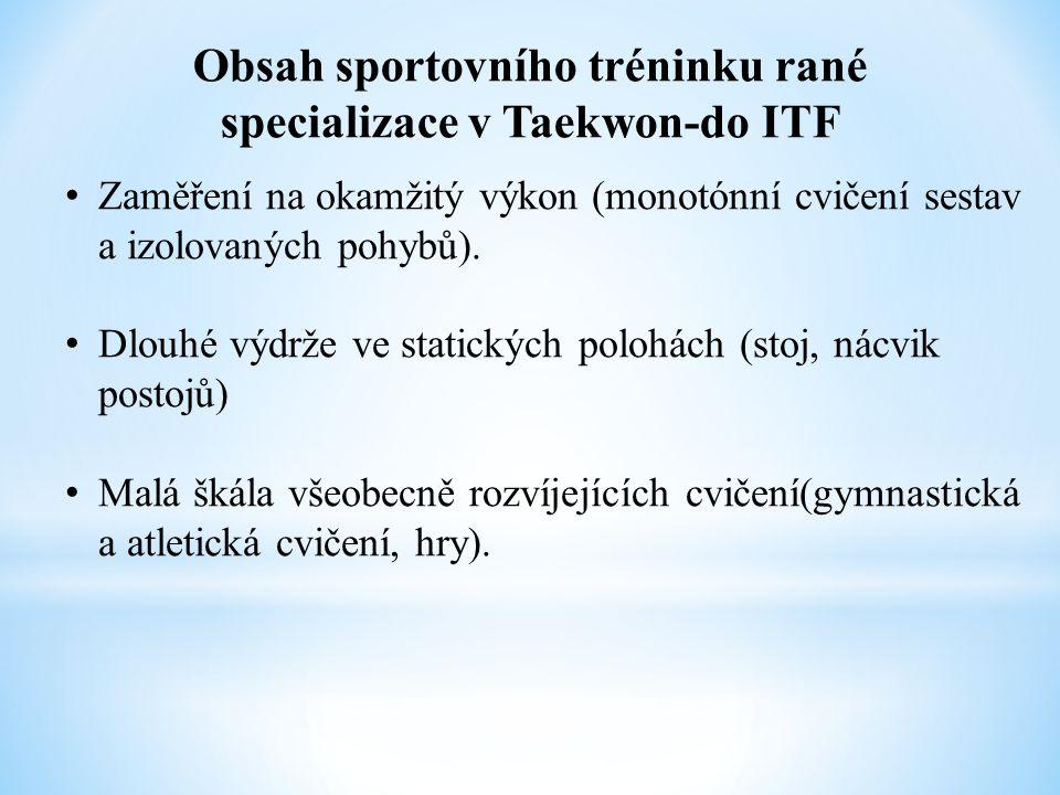 Obsah sportovního tréninku rané specializace v Taekwon-do ITF Zaměření na okamžitý výkon (monotónní cvičení sestav a izolovaných pohybů). Dlouhé výdrž