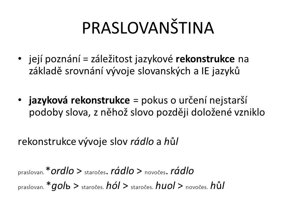 PRASLOVANŠTINA její poznání = záležitost jazykové rekonstrukce na základě srovnání vývoje slovanských a IE jazyků jazyková rekonstrukce = pokus o urče