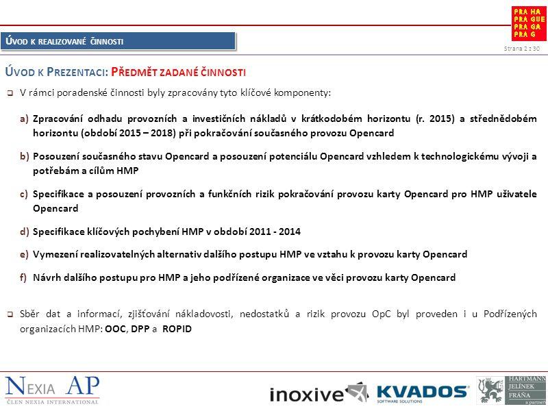Strana 2 z 30 Ú VOD K REALIZOVANÉ ČINNOSTI  V rámci poradenské činnosti byly zpracovány tyto klíčové komponenty: a)Zpracování odhadu provozních a investičních nákladů v krátkodobém horizontu (r.