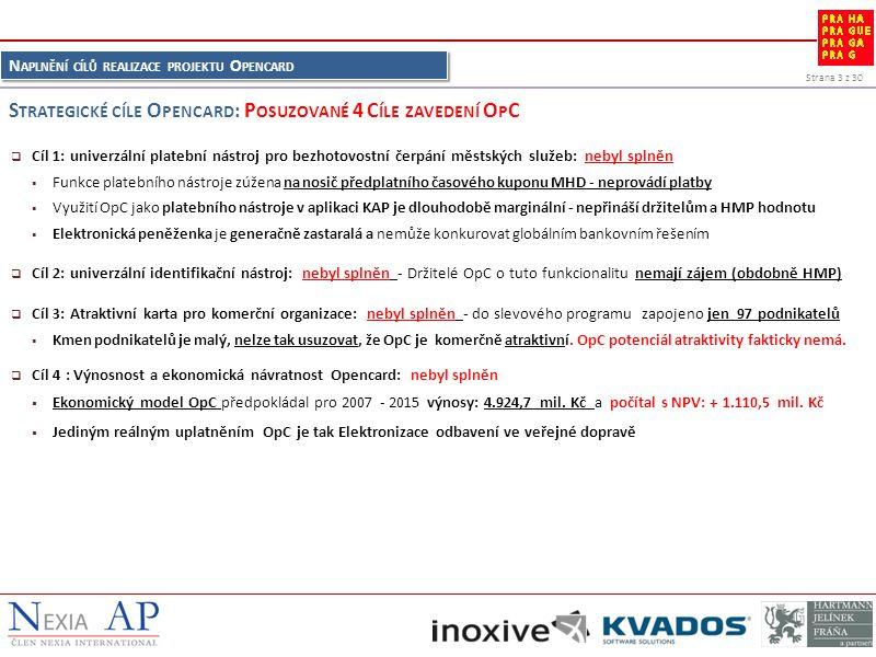Strana 3 z 30 N APLNĚNÍ CÍLŮ REALIZACE PROJEKTU O PENCARD  Cíl 1: univerzální platební nástroj pro bezhotovostní čerpání městských služeb: nebyl splněn  Funkce platebního nástroje zúžena na nosič předplatního časového kuponu MHD - neprovádí platby  Využití OpC jako platebního nástroje v aplikaci KAP je dlouhodobě marginální - nepřináší držitelům a HMP hodnotu  Elektronická peněženka je generačně zastaralá a nemůže konkurovat globálním bankovním řešením  Cíl 2: univerzální identifikační nástroj: nebyl splněn - Držitelé OpC o tuto funkcionalitu nemají zájem (obdobně HMP)  Cíl 3: Atraktivní karta pro komerční organizace: nebyl splněn - do slevového programu zapojeno jen 97 podnikatelů  Kmen podnikatelů je malý, nelze tak usuzovat, že OpC je komerčně atraktivní.