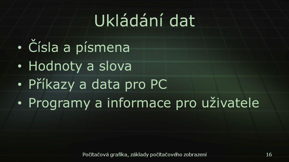 Ukládání dat Čísla a písmena Hodnoty a slova Příkazy a data pro PC Programy a informace pro uživatele Počítačová grafika, základy počítačového zobraze