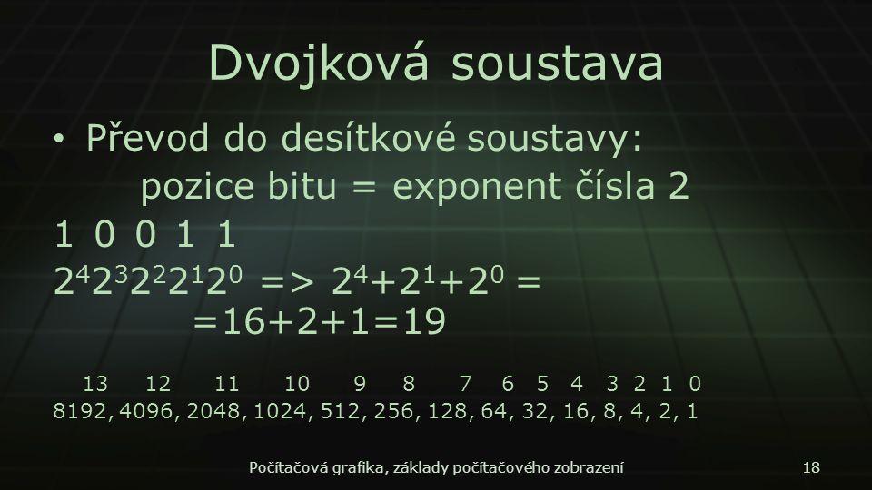 Dvojková soustava Převod do desítkové soustavy: pozice bitu = exponent čísla 2 1 0 0 1 1 2 4 2 3 2 2 2 1 2 0 => 2 4 +2 1 +2 0 = =16+2+1=19 13 12 11 10