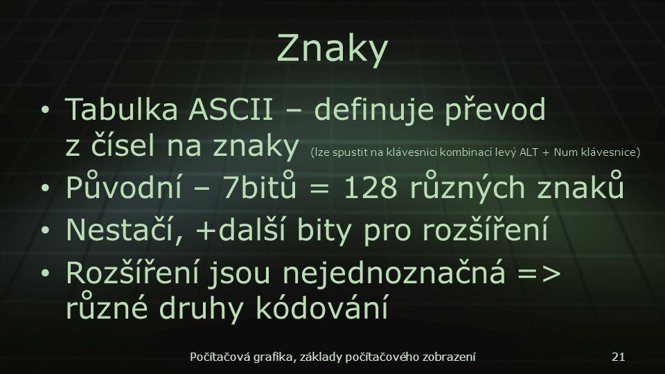 Znaky Tabulka ASCII – definuje převod z čísel na znaky (lze spustit na klávesnici kombinací levý ALT + Num klávesnice) Původní – 7bitů = 128 různých z