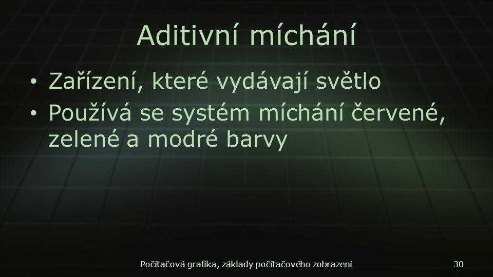 Aditivní míchání Zařízení, které vydávají světlo Používá se systém míchání červené, zelené a modré barvy Počítačová grafika, základy počítačového zobr
