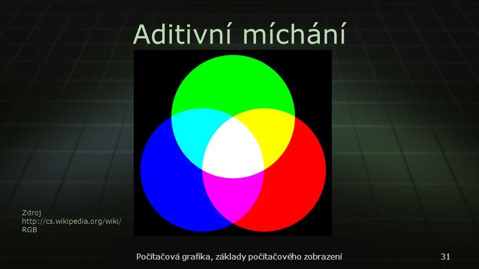 Aditivní míchání Počítačová grafika, základy počítačového zobrazení31 Zdroj http://cs.wikipedia.org/wiki/ RGB