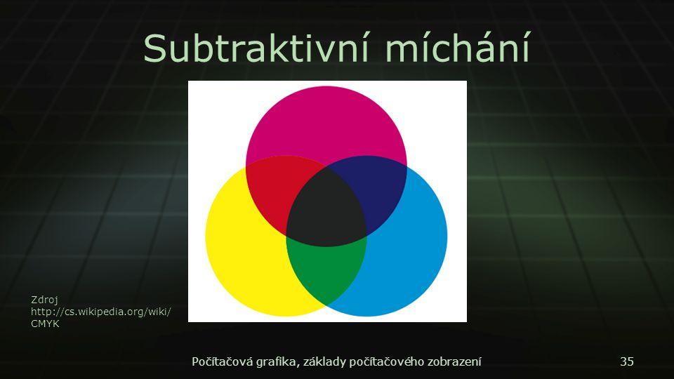 Subtraktivní míchání Počítačová grafika, základy počítačového zobrazení35 Zdroj http://cs.wikipedia.org/wiki/ CMYK