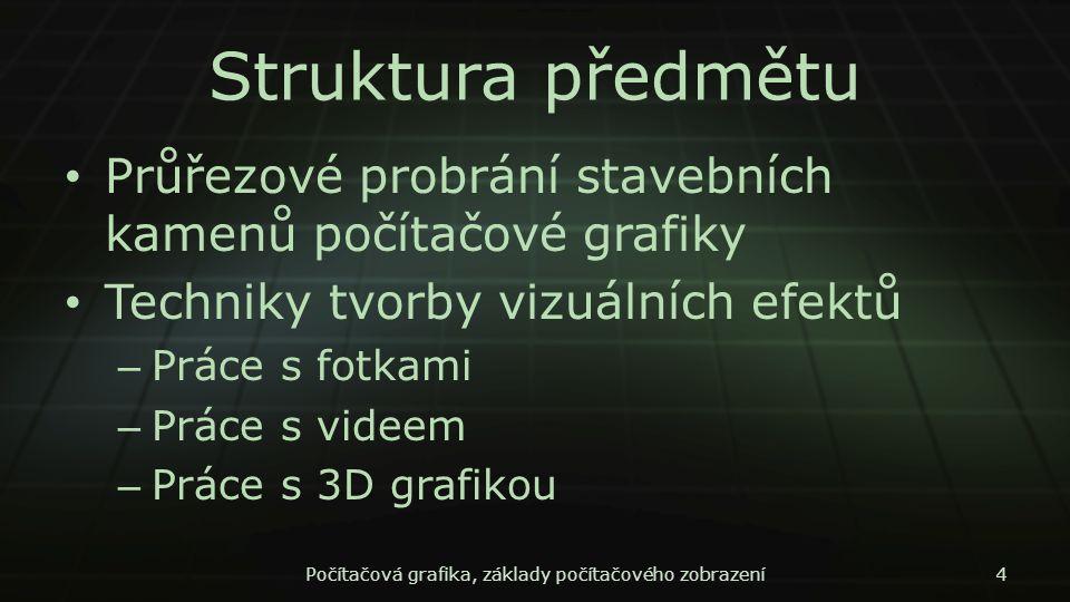 Struktura předmětu Průřezové probrání stavebních kamenů počítačové grafiky Techniky tvorby vizuálních efektů – Práce s fotkami – Práce s videem – Prác
