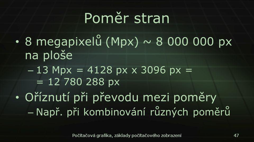 Poměr stran 8 megapixelů (Mpx) ~ 8 000 000 px na ploše – 13 Mpx = 4128 px x 3096 px = = 12 780 288 px Oříznutí při převodu mezi poměry – Např. při kom