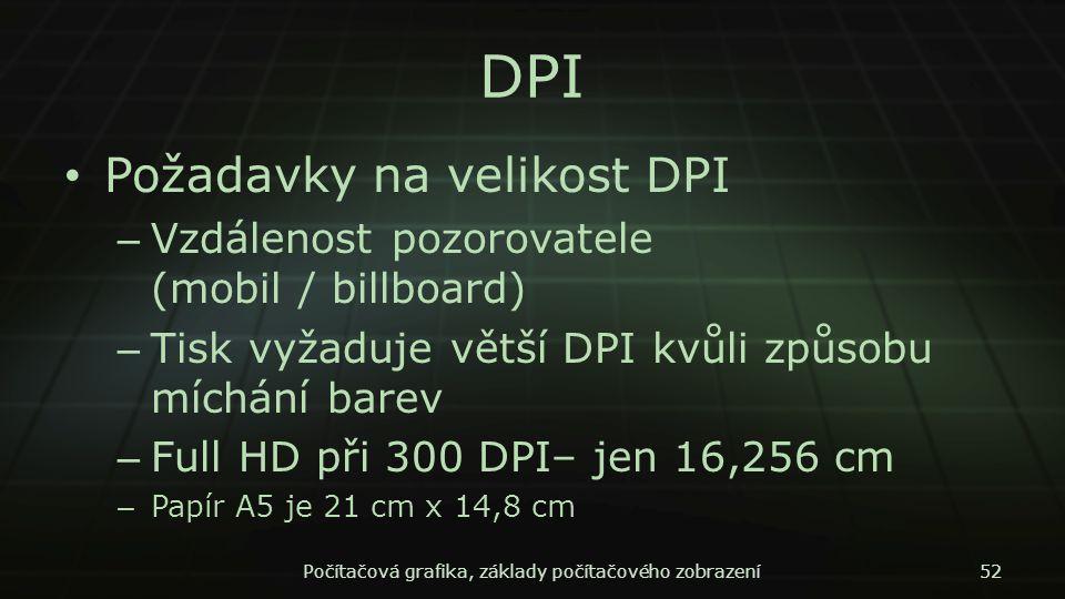 DPI Požadavky na velikost DPI – Vzdálenost pozorovatele (mobil / billboard) – Tisk vyžaduje větší DPI kvůli způsobu míchání barev – Full HD při 300 DP