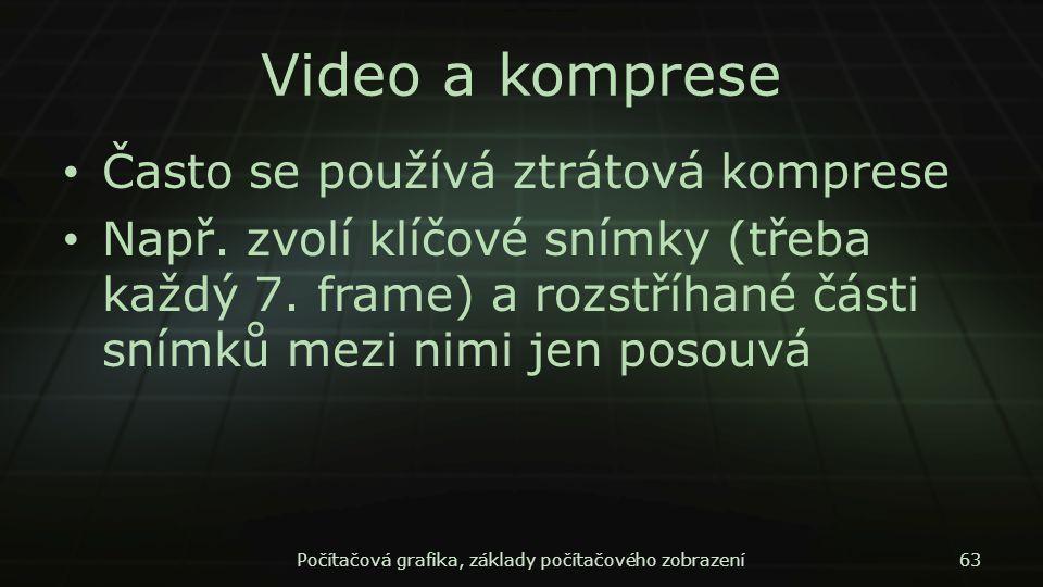 Video a komprese Často se používá ztrátová komprese Např. zvolí klíčové snímky (třeba každý 7. frame) a rozstříhané části snímků mezi nimi jen posouvá