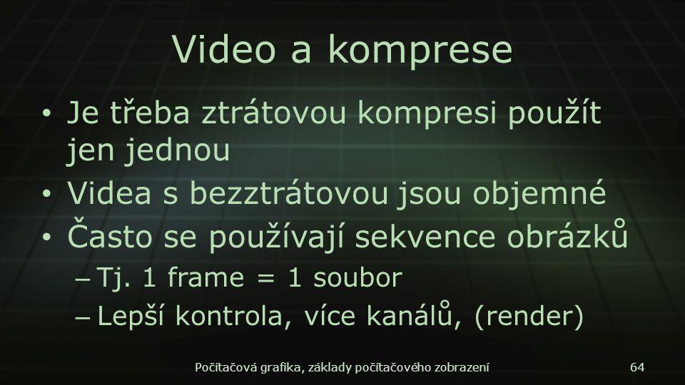 Video a komprese Je třeba ztrátovou kompresi použít jen jednou Videa s bezztrátovou jsou objemné Často se používají sekvence obrázků – Tj. 1 frame = 1