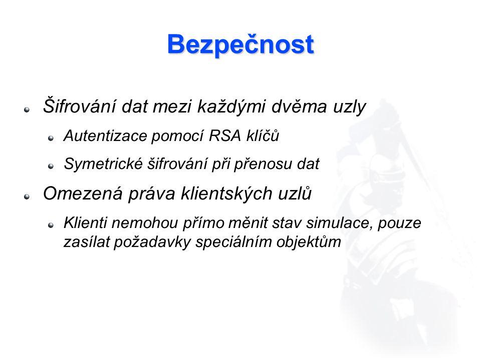 Bezpečnost Šifrování dat mezi každými dvěma uzly Autentizace pomocí RSA klíčů Symetrické šifrování při přenosu dat Omezená práva klientských uzlů Klienti nemohou přímo měnit stav simulace, pouze zasílat požadavky speciálním objektům