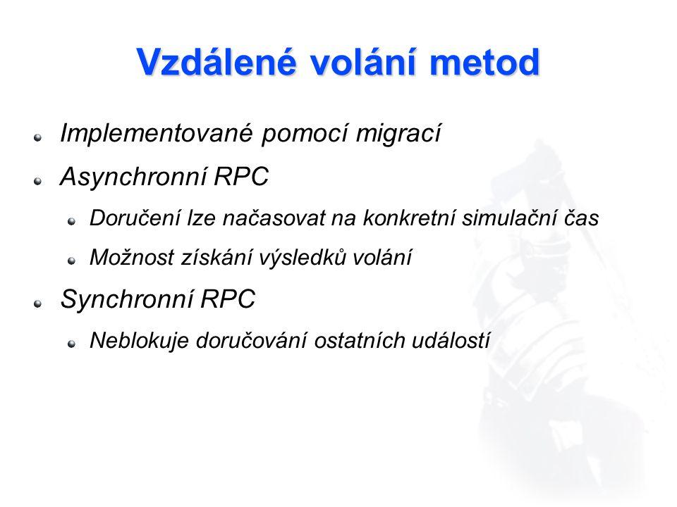 Vzdálené volání metod Implementované pomocí migrací Asynchronní RPC Doručení lze načasovat na konkretní simulační čas Možnost získání výsledků volání Synchronní RPC Neblokuje doručování ostatních událostí