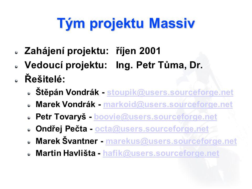 Tým projektu Massiv Zahájení projektu: říjen 2001 Vedoucí projektu:Ing.