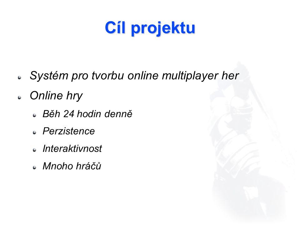 Cíl projektu Systém pro tvorbu online multiplayer her Online hry Běh 24 hodin denně Perzistence Interaktivnost Mnoho hráčů