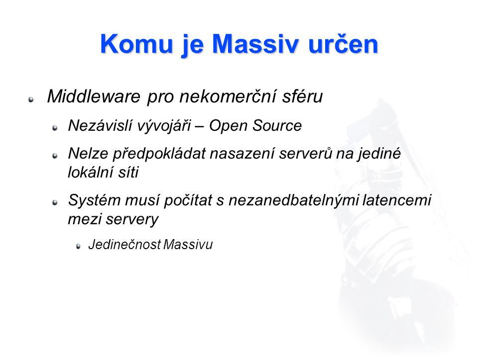 Komu je Massiv určen Middleware pro nekomerční sféru Nezávislí vývojáři – Open Source Nelze předpokládat nasazení serverů na jediné lokální síti Systém musí počítat s nezanedbatelnými latencemi mezi servery Jedinečnost Massivu