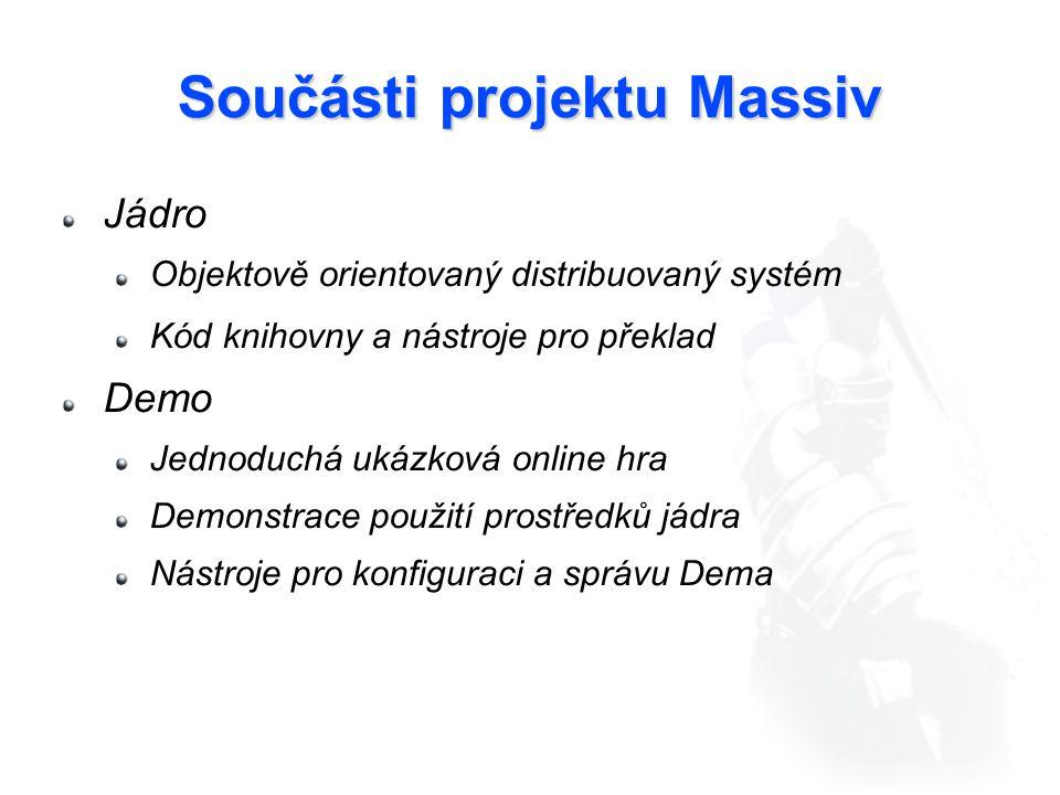 Součásti projektu Massiv Jádro Objektově orientovaný distribuovaný systém Kód knihovny a nástroje pro překlad Demo Jednoduchá ukázková online hra Demonstrace použití prostředků jádra Nástroje pro konfiguraci a správu Dema