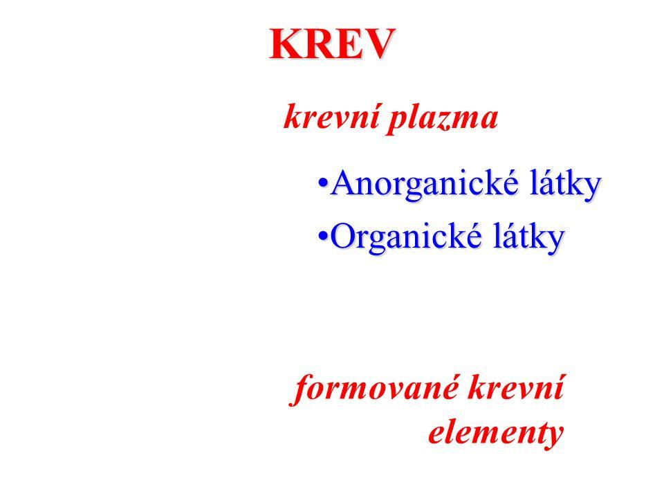KREV krevní plazma Anorganické látkyAnorganické látky Organické látkyOrganické látky formované krevní elementy
