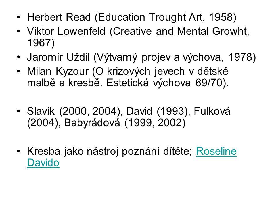 Herbert Read (Education Trought Art, 1958) Viktor Lowenfeld (Creative and Mental Growht, 1967) Jaromír Uždil (Výtvarný projev a výchova, 1978) Milan K