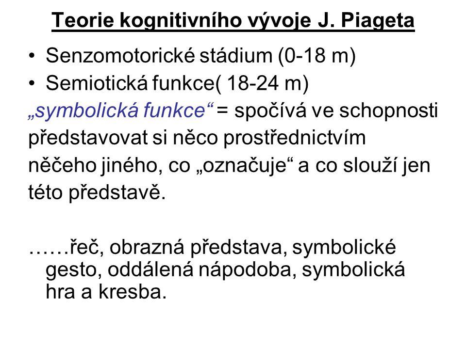 """Teorie kognitivního vývoje J. Piageta Senzomotorické stádium (0-18 m) Semiotická funkce( 18-24 m) """"symbolická funkce"""" = spočívá ve schopnosti představ"""