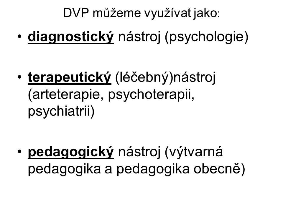 DVP můžeme využívat jako : diagnostický nástroj (psychologie) terapeutický (léčebný)nástroj (arteterapie, psychoterapii, psychiatrii) pedagogický nást