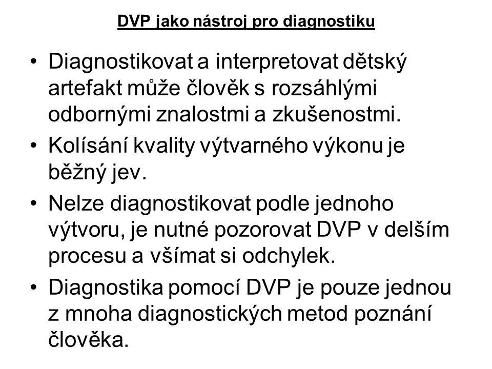 DVP jako nástroj pro diagnostiku Diagnostikovat a interpretovat dětský artefakt může člověk s rozsáhlými odbornými znalostmi a zkušenostmi. Kolísání k