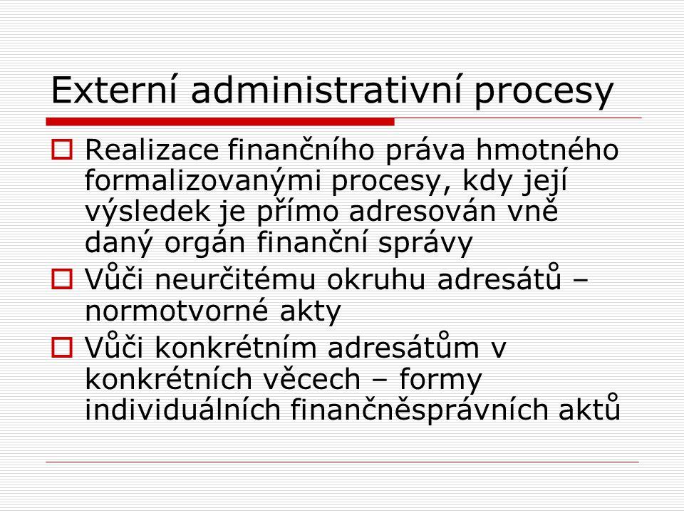 Externí administrativní procesy  Realizace finančního práva hmotného formalizovanými procesy, kdy její výsledek je přímo adresován vně daný orgán fin