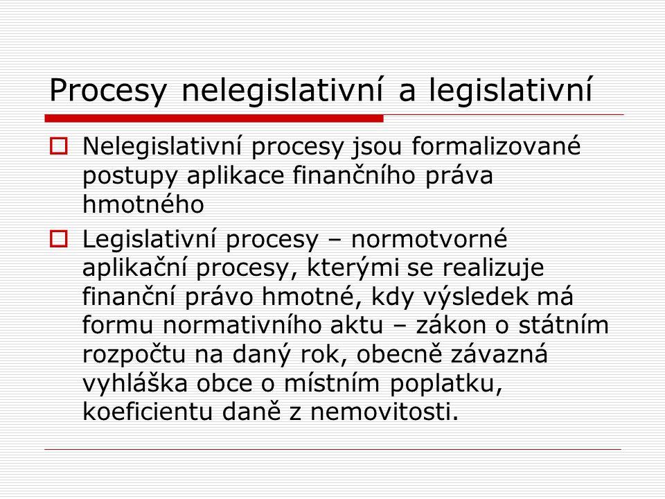 Procesy nelegislativní a legislativní  Nelegislativní procesy jsou formalizované postupy aplikace finančního práva hmotného  Legislativní procesy –