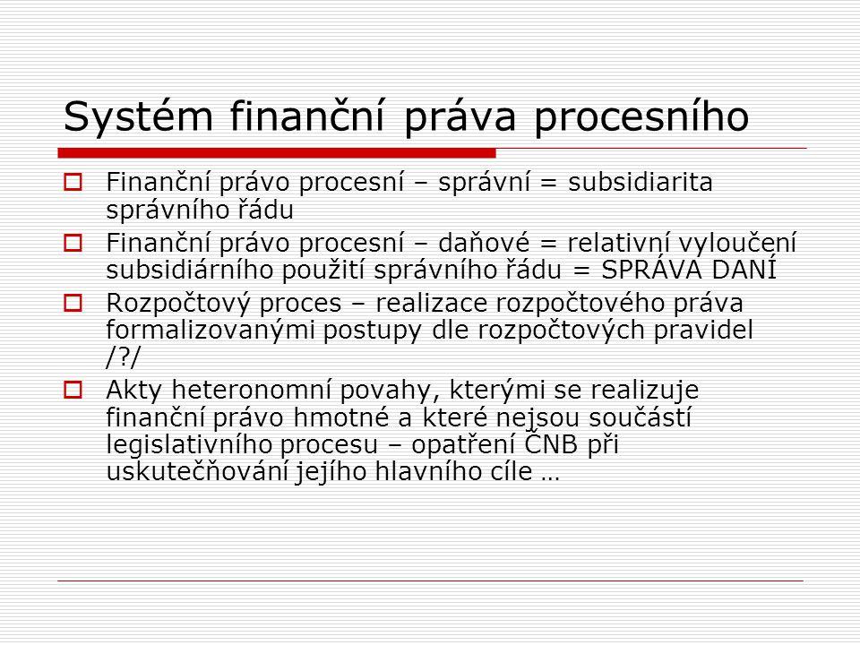 Systém finanční práva procesního  Finanční právo procesní – správní = subsidiarita správního řádu  Finanční právo procesní – daňové = relativní vylo